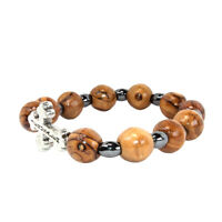 Stretch Bracelet Olive Wood Beads w/ Metal Cross HandMade Holy Land Jerusalem