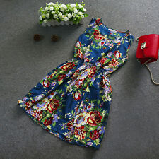 Women Summer Fashion Casual Sleeveless Floral Mini Party Cocktail Dress