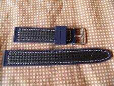 20 mm TECHNIQUE SOLIDE BRACELET ETANCHE CARBONE NOIR & SILICONE COUTURE BLANCHE
