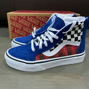 Vans Sk8-Hi True Blue Racing Red Plaid Checkerboard New Boys Preschool Size 2