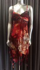 SUE WONG Silk Beaded Print Empire Waist Boho Hankerchief Dress