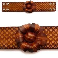 Bracelet femme vrai cuir réglable fleur étoiles marron large original