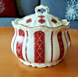 Vintage Ukrainian Embroidery Pattern Folk Art Red Black Casserole Pottery