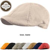 Duckbill Solid Cotton Gatsby Cap Mens Ivy Hat Golf Driving Summer Cabbie Newsboy