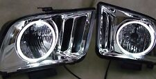 2005-2009 FORD MUSTANG.SET OF TWO(2). RT &  LF. HEAD LAMPS CHR/ W/HALO RINGS