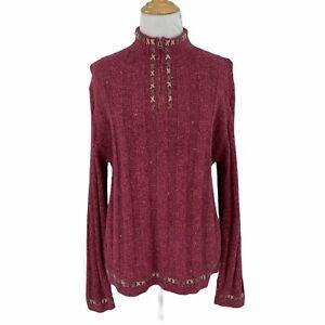 Woolrich Rosebud 1/4 Zip Sweater Women's Size L Ramie Wool Knit Blend Pullover