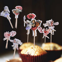 48x Flower Fairy Girls Cupcake Cake Topper Picks Baby Shower Wedding Party Decor