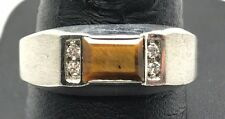 Men's Sterling Silver Emerald Cut Brown Tiger's Eye / CZ Brushed Band Ring 10.25