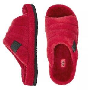 "UGG Brand Soft ""Fluff You"" Slide Slip on Casual Slipper Samba Red Mens Size 11"