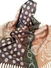 NEW Green and pale Gold Brown 100% Pashmina. Stunning, Flowing, Regal. LOVE IT!!