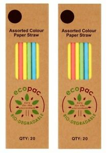 2 Pack of Ecopac 20 Assorted Colour Paper Straw 210mm, Enviornment-Friendly