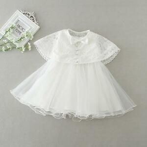 Elegant Bow Christening Gown Lace Baptism Dress Baby Christening Dress with Cape
