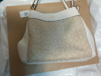 New Authentic Coach Lexy Shoulder Bag Crossbody Handbag Purse WHITE BROWN