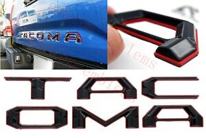 Double Layer Tailgate Insert Letters fits 2016-2021 Toyota Tacoma (Black Red)
