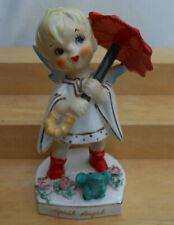 VINTAGE LEFTON ANGEL APRIL BOY UMBRELLA FROG GOLD TRIM JAPAN FIGURINE #556