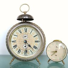 GERMAN PETER Antique Alarm CLOCK RARE! 9.7 Inch Mantel 1920s! RESTORED SERVICED!