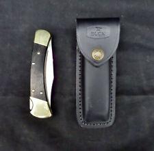 Buck 110 Folding Hunter's Knife w/ Black Leather Sheath