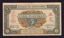 French Indochina 5 Piastres 1942  P-61      F