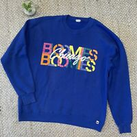 VTG 80s 90s Bloomingdales Bloomies Chicago Rainbow Sweatshirt Blue Adult Medium