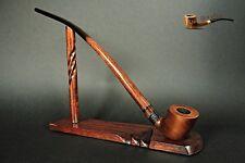 """WOODEN SMOKING PIPE + STAND  LOTR Gandalf Hobbit 81  CHURCHWARDEN  14""""   Brown"""