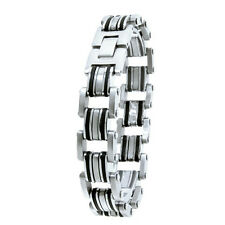 USA, Black Rubber Silver Chain Link Men's Cool Stainless Steel Bangle Bracelet