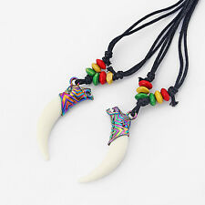 1pcs Faux Yak Bone Tooth Teeth Wolf Head Beads Pendant Amulet Necklace