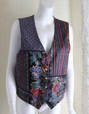 Hand-Made Lux Patchwork Fabrics Art-to-Wear Waistcoat Gillet Vest -Sz M