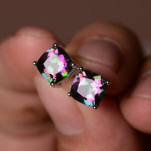 925 Silver MYSTICAL Topaz&Pink Sapphire Gemstone Birthstone Ear Studs Earrings!!