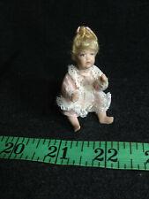 DOLLHOUSE MINIATURE ARTISAN PORCELAIN BABY CHILD SCALE 1:12BLONDE CURLS DRESS