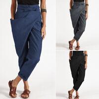 ZANZEA Femme Pantalon Casuel en vrac Ample Ceinture Poche Asymétrique Plus Long