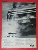 "1964 Chevrolet Impala Dirty Engine 1967 MOBIL Oil Original Print Ad-8.5 x 11"""