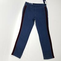 New Charter Club womens pull on skinny jeans size 8 P maroon tuxedo stripe $64