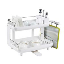 CURVED Dish Rack, 2 Tier Dish Drainer Rack,Stainless Steel 204+ABS