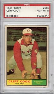 """1961 Topps """"CLIFF COOK"""" (#399) PSA 8 NM-MT"""