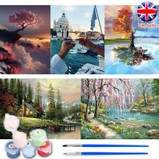 Oil Painting By Numbers Kit Craft DIY Paint On Canvas Frameless Landscape Adult
