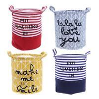 Foldable Washing Laundry Basket Hamper Cotton Linen Clothes Storage #G