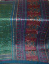 Very Impressive COLOR Vintage Fabric 5 yard PURE Silk Sari Saree FLORAL India