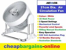 AIR CIRCULATOR FAN HELLER 21cm WHITE 240 Volt 35 Watt FAN 3 Speed Powerful Wind