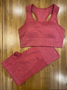 Red Marl Seamless Gym Fitness Shorts And Bra Set Size S New