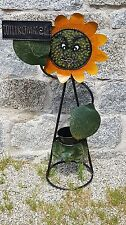 Hauseingang Metall Sonnenblume Willkommen Garten Schild Figur NEU