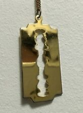 Vintage 70s 80s Polished Gold Tone Razor Blade Pendant Charm Fine Chain Necklace