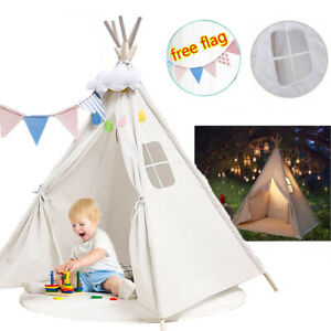 Large Canvas Kids Teepee White Tent Children Baby Indoor Outdoor Play House Gift