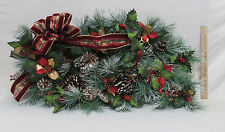 Christmas Centerpiece Poinsettia Pine Bough Swag Artficial Flowers Floral