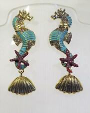 CG6005...A PAIR OF ENAMELLED SEAHORSE (HIPPOCAMPUS) EARRINGS