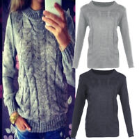 Womens Knitted Long Sleeve Cable Knit Jumper Knitted Sweater Tops Stock CI