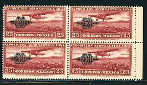 MEXICO MNH Air Post BLOCK Selections: Scott #C45 20c/25c SCHG (1932) CV$10+