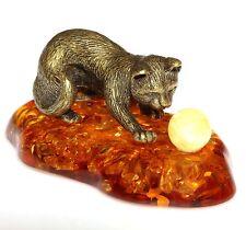 """Cat with Ball Brass Figurine on Baltic Amber Base Kitten Miniature Sculpture 2"""""""