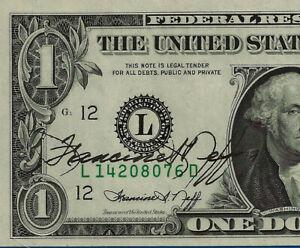 1974 $1 FRN (( Autographed - San Francisco )) Gem Uncirculated # L14208076D