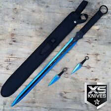 "27"" Blue 2 Tone Ninja Sword Full Tang Machete W/ 2pc 5"" Throwing Knife Set"
