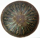 19th CENTURY INDO-PERSIAN LEATHER HIDE PAINTED SHIELD FROM RAJASTHAN. #9601